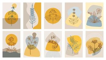bitter herbs abstract poster set vector