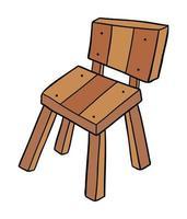 Cartoon Vector Illustration of Wooden Chair
