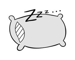 ilustración vectorial de dibujos animados de dormir almohada y zzz vector