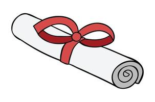 Cartoon Vector Illustration of Certificate or Diploma With Red Ribbon