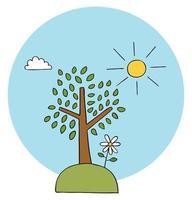Cartoon Vector Illustration of Tree Herbs Daisy and Sunny Weather