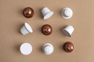 Top view coffee capsules set photo