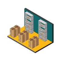Isometric Warehouse Room On White Background vector