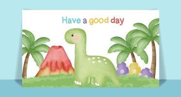Watercolor cute Dinosaur cartoon vector