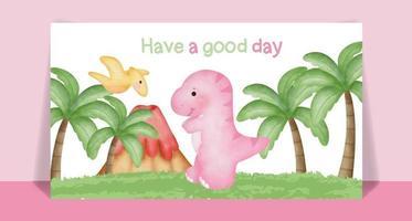 Watercolor cute Dinosaur cartoon post card vector