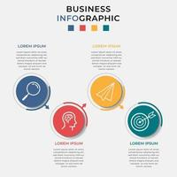 Minimal Business Infographics template Timeline with 4 steps options and marketing icons vector
