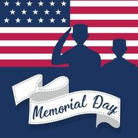 US army men silhouettes over a flag of United States Memorial day poster vector