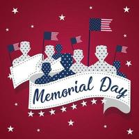 US army men silhouettes with flags of United States Memorial day poster vector