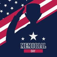 US army man silhouette over a flag of United States Memorial day poster vector