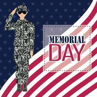 US army man over flag of United States background Memorial day poster vector
