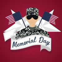 US army man with flags of United States  Memorial day poster vector
