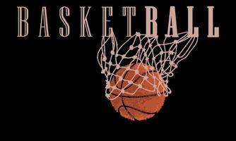 Basketball ball entering a net vector