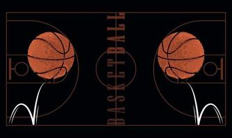 Pelotas de baloncesto con una textura grunge en una cancha de baloncesto vector