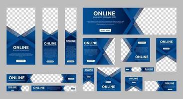 Set of online business seminar web banners vector