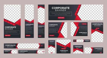 Set of Coorporate web banners template of standard size with black concept vector