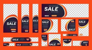 Set of Sale web banners template of standard size with place for photos vector
