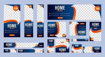 Colección de plantillas de banners web para la venta de casas de tamaño estándar. vector
