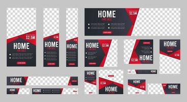 Collection of Home for sale web banners template of standard size vector