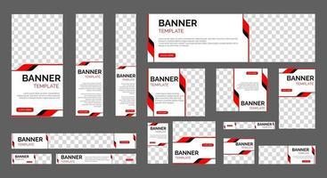 Banners web comerciales con tamaño estándar y lugar para fotos. vector