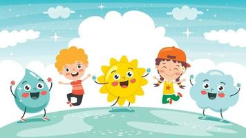 Little Kids And Nature Elements vector