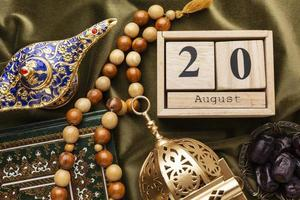 Islamic new year decorations with a calendar photo