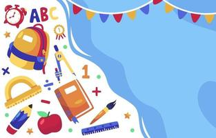 cartoon of back to school stationery background vector