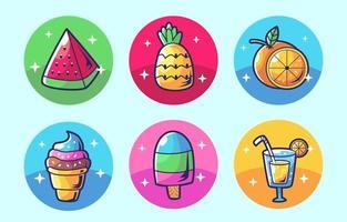 colecciones de comida de verano de dibujos animados vector