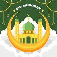 Flat Green and Yellow Mosque Concept vector