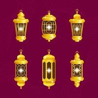 Gold Lantern Icon Set vector