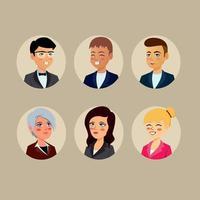 Business People Round Avatars vector