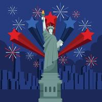 Fourth of July Celebration Around Statue of Liberty vector