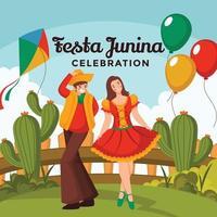 vestidos de niño y niña celebrando la festa junina vector