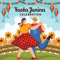 feliz pareja bailando en un campo de girasoles vector