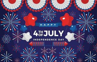 Fourth of July Themed Balloons Fireworks and Ribbons vector