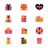 múltiples variedades de llamativas cajas de regalo vector