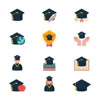Graduation Hats in Various Settings vector