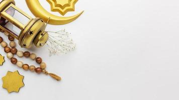 Islamic New Year Decorations with copy space on a white background photo