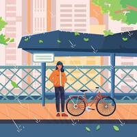 mujer con bicicleta esperando en un día lluvioso vector