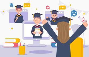 Online Graduation Illustration Concept vector