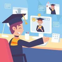 People Celebrate Online Graduation vector