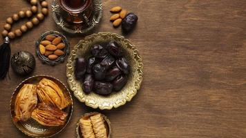 Top view of Islamic New Year foods photo
