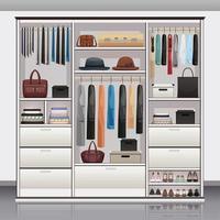 Wardrobe Storage Interior Realistic Vector Illustration