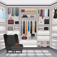 Wardrobe Cloakroom Interior Realistic Vector Illustration