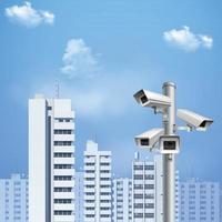 Ilustración de vector de fondo realista de cámara de vigilancia