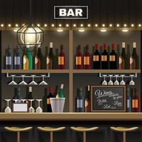 Bar Interior Realistic Vector Illustration