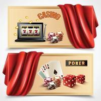 Casino Realistic Banner Set Vector Illustration