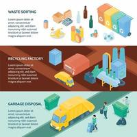 Garbage Recycling Isometric Banners Vector Illustration