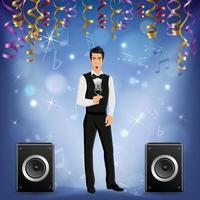 Party Celebration Singer Realistic Vector Illustration
