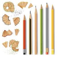 Sharpened Wooden Pencils And Shavings Vector Illustration