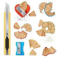 Knife For Pencils Sharpening And Shavings Vector Illustration